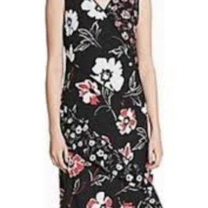 Calvin Klein Black Floral V-Neck Shift Dress, 6P